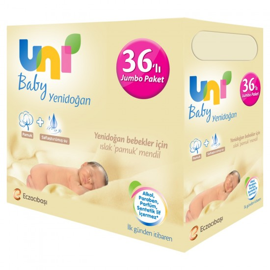 Uni Baby Yenidoğan Islak Pamuk Mendil 36'lı Jumbo Paket 1440'lı